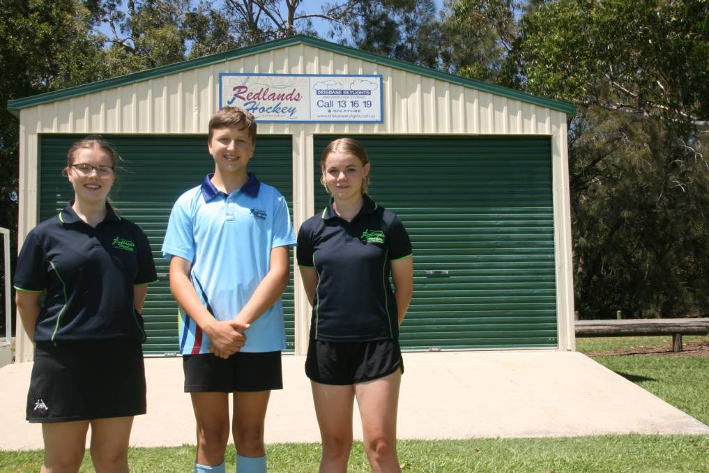 BEST AND BRIGHTEST: Redlands Hockey players Jacinta Fisher, Aaron Nyqvist and Sarah Swann have been selected in the under 16 development squad.