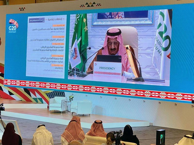 Saudi King Salman addresses the G20 summit about the need for a fair approach to fighting COVID-19.