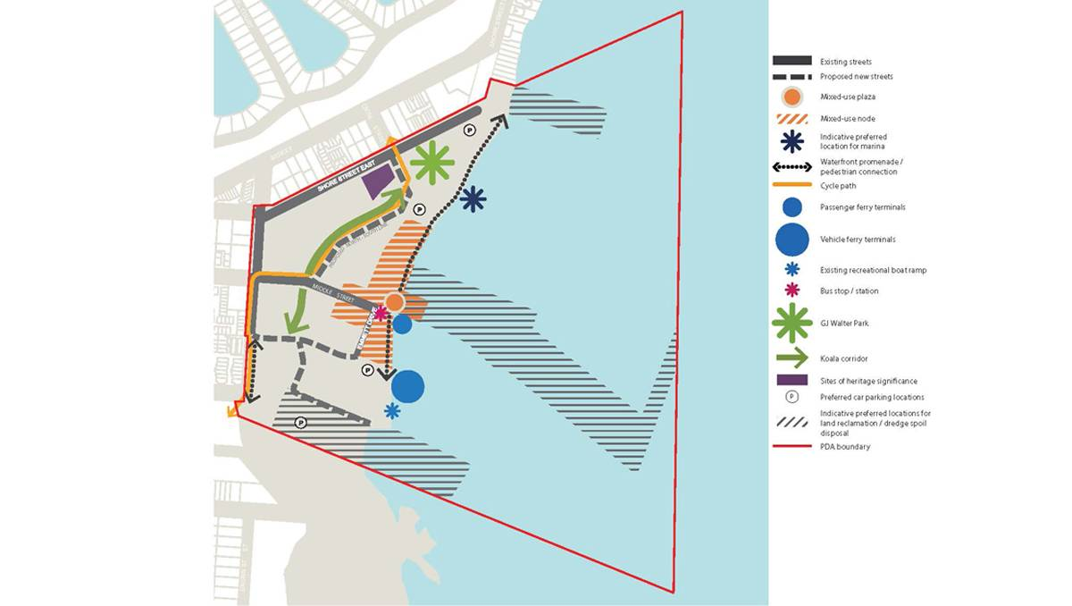 The map showing precincts under the Toondah Harbour PDA. A breakwater/reclaimed land juts out to form a a beach and marina in front of GJ Walter Park